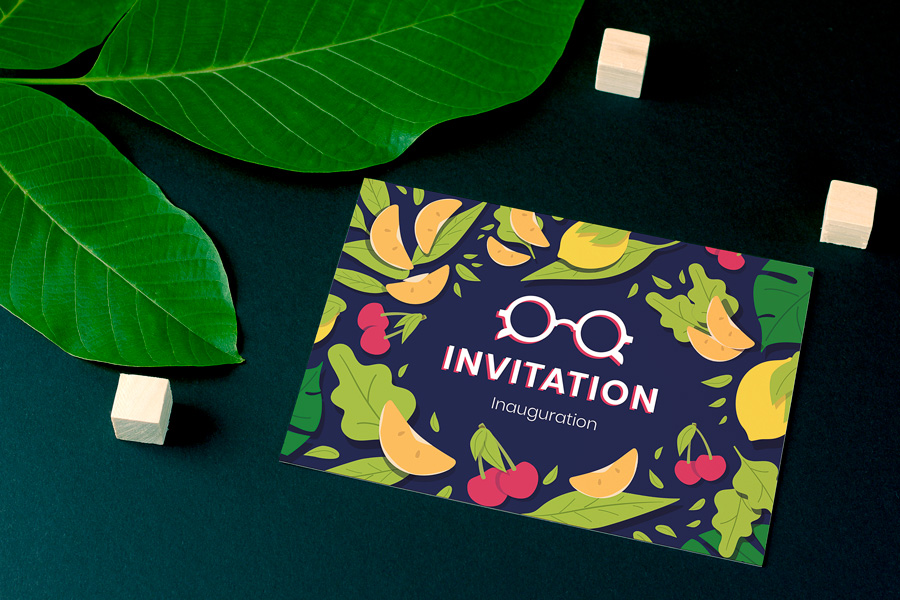 Communication imprimée : Carton d'invitation pour l'inauguration de Lunetterie Martin